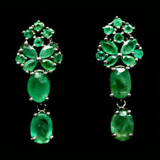 NATURAL GREEN EMERALD EARRINGS 925 SILVER STERLING