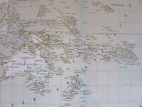 Oceania Australia Polynesia New Zealand 1874 Flemming detailed old map
