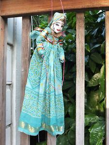 "RAJASTHANI 18"" Puppet Doll Hand Made Ethnic Folk Art Wood & Silk Hanging INDIA"