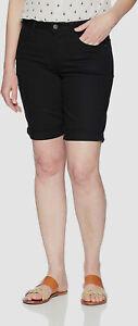 $59 Riders by Lee Womens Black Rolled Cuff Mid-Rise Bermuda Denim Shorts Size 14