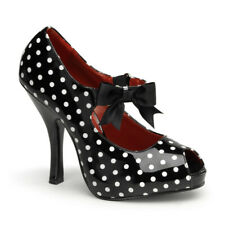Pin Up Couture Cutiepie-07 Retro White & Black Polka Dot Mary-Jane Heels