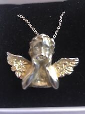 """Cherub Hand On Cheek TG230  English Pewter On 16"""" Silver Plated Curb Necklace"""