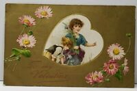 Valentine Children thru Heart Embossed Flowers Shimmering Gold 1910 Postcard A6