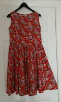 Lindy Bop 50's Style Floral Cotton Red Dress UK Size 16