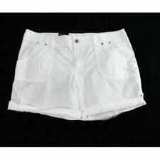 INC International  Bright White Size 18W Classic-Fit Twill Cuffed Shorts SZ 18W