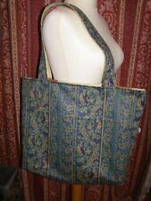 Fatto a mano completamente foderate Tote Bag shoppiing Borsa Spiaggia Stile Barocco Scroll tessuto