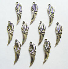 10 Metal Antique Silver Angel Wings/Tercel Wings Charms - 30mm