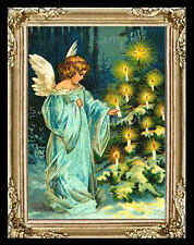 Christmas Tree Angel Miniature Dollhouse Picture