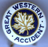 1904 pin Great Western Accident pinback button Mini Badge