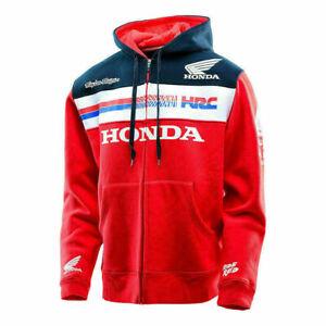 ^Motorcycle jacket Red Moto GP HONDA HRC Racing Men's Zipper Hooded 2021