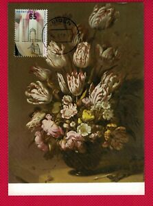 1986 Netherlands Nice FLOWERS / Painting FDC Maxicard