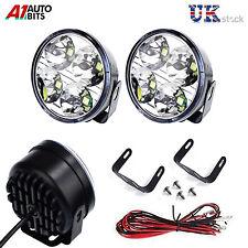 2x White 12V 4 LED DRL Round Daytime Running Light Car Tail Fog Day Driving Lamp
