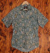 Hawaiian Shirt Local Motion Green Abstract Print of Warriors Size Medium