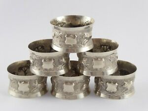 SMART SET OF 6 INDIAN SOLID SILVER NAPKIN RINGS c.1920'S