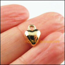 100 New Tiny Heart Charms Acrylic Smooth Pendants KC Gold Plated 8x10mm