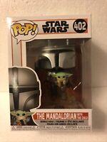 The Mandalorian With Jet Pack + Child Grogu Funko Pop Baby Yoda 402 W Protector+