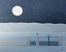 """Gabriel Donnet """" Le chat et la lune """" Tableau naïf original"""