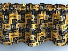 "Boston Bruins Block Style Gold Black Handmade Valance 40"" x 13"""