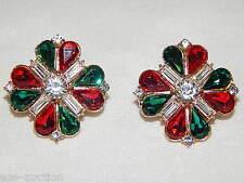 Marquise & Round And Baguette Rhinestones Crystal Flower Earrings /215