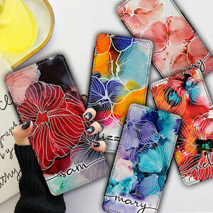 Personalised NAME INK FLOWERS Flip WALLET Phone Case Cover For iPhone & Samsung