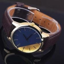 Ladies Gold Quartz Two Tone Faced Brown Leather Band Wrist Watch.(Aussie Seller)