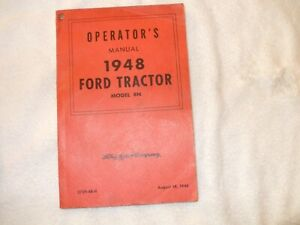 Vintage Operator's Manual for Ford Tractor 1948- 8N
