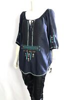 💕 Johnny Was BIYA Embroidered KEENA Key Hole Blouse Tunic Blue Aztec L $228 💕
