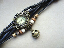 Womens Retro Leather Bracelet NBC Jack Skellington Quartz Wrist Watch Black