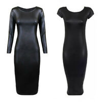 Sexy Women Faux Leather PVC Wet Look Long Sleeve Clubwear Bodycon Midi Dress