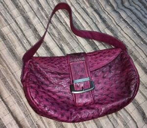 NUTI Genuine Ostrich Leather Hobo Shoulder Bag Purple with dust bag. Italy