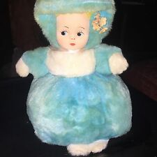 Vintage Plush Turquoise Doll Fabric Face