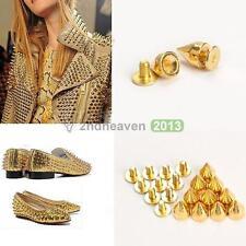 100Pcs Gold Punk Studs Spike Rivet DIY Bag Clothes Shoe Belt Craft Art Decor New