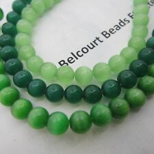 6mm Round Greens Cat Eye Beads Glass Cat's Eye Glass Beads 3 Strands