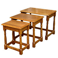 Antique Farmhouse Country Oak Traditional Nesting Tables - Set of 3