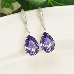 4.2Ct Pear Cut Blue Sapphire Drop Dangle Hook Earrings Solid 18K White Gold Over
