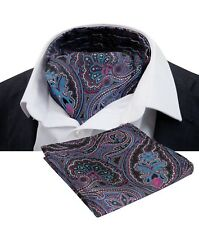 Floral Wedding Prom Men Cravat Ascot Tie Set with Matching Hanky/Pocket Square