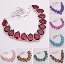 925 Sterling Silver Overlay Gemstone Statement Necklace Women Jewelry PN225a