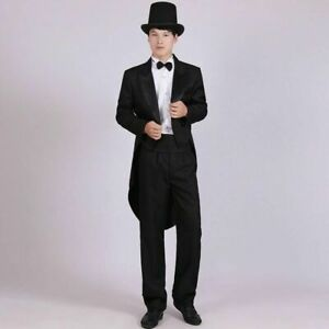 Black Swallow-tailed Men's Formal Tailcoat Tuxedo Outfit