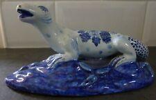 More details for antique handmade delft blue & white lizard salamander ornament floral design