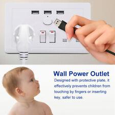 Double Wall Plug Socket 2 Gang 13A with 3 USB Ports Screwless Slim Flat Plate