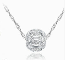 Damen Kette Halskette 925 Silber Glück Kugel Anhänger Silberkette Design Neu