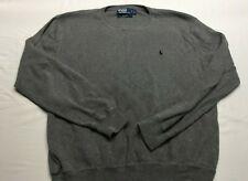 Polo Ralph Lauren Mens L Large Gray Crew  Neck Sweater cotton