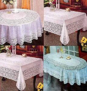 PVC 100% VINYL WHITE EMBOSSED LACE TABLECLOTH TABLE COVER OVAL RECTANGLE SQUARE