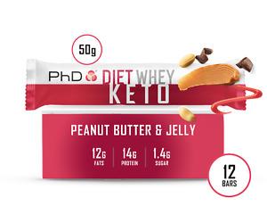 PhD Diet Whey KETO protein bar -12 pack (choose flavour)