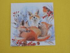 5 Servietten drei Füchse Rotkehlchen Serviettentechnik Fuchs Tiere Robin WINTER