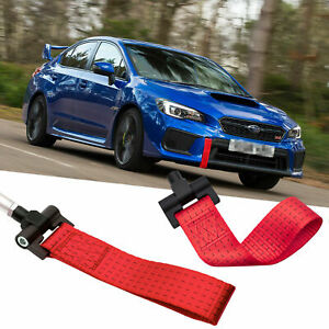 Sports Red JDM Style Towing Strap Tow Hole Adapter For Subaru BRZ WRX 2013-2018