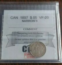 Canada 5 Cents 1897 Slender Narrow 8 Coin Mart graded VF-20 Great Detail