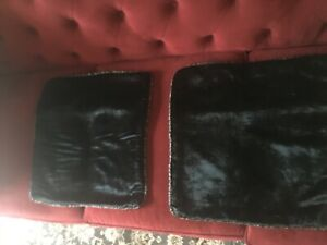 2 BRAND NEW BLACK VELVET BEADED THROW PILLOWS