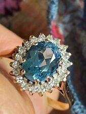 Vintage 9ct gold ,blue topaz,diamond cluster ring -HM NEW UNWORN (2) 1.8g size L