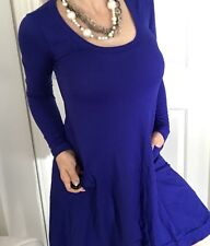 METALICUS WOMENS DRESS BLUE NYLON A LINE STRETCHY POCKETS ONE SIZE